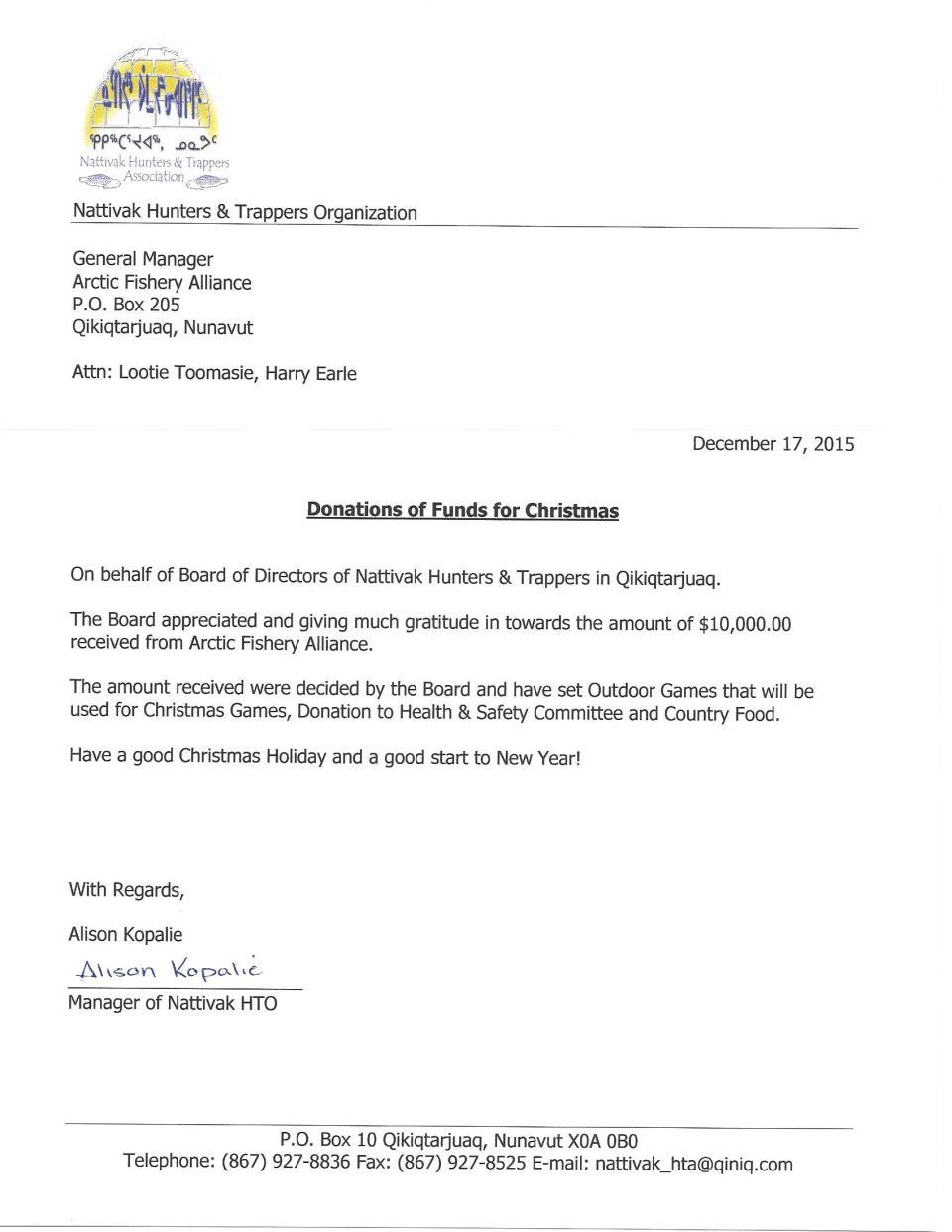 Letter to AFA from Nattivak HTO